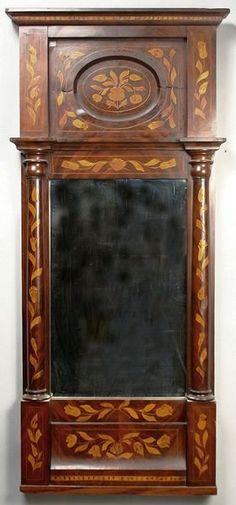19th Century Biedermeier mahogany framed mirror with satinwood marquetry, 46 x 21, P. Head, Egham label verso.