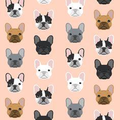 French Bulldog sweet frenchies blush girls dog pet puppy puppies pet friendly fabric fabric by petfriendly on Spoonflower - custom fabric