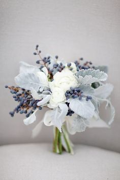 Grey & White Wedding Bouquets-1