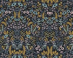 Rifle Paper Co. Tapestry Midnight Metallic Fabric Modern Menagerie Collection Cotton + Steel Fabric Anna Bond Quilting Cotton Gold Metallic