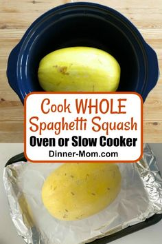 Cook spaghetti squash WHOLE using a slow cooker or by roasting it in the oven, and you'll never put off making healthy spaghetti squash recipes again! #spaghettisquash #slowcookerspaghettisquash Spaghetti Squash Slow Cooker, Roasting Spaghetti Squash, Spaghetti Squash Alfredo, Squash In Oven, Spaghetti Squash Recipes, Easy Pasta Recipes, Healthy Recipes, Healthy Meals, Healthy Food