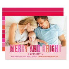 Merry and Bright Christmas Photo Card | Red & Pink