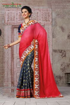 Navy blue & dusty pink color crepe jacquard & viscose fabric designer saree with blue & pink color art silk blouse. Featuring the superb embroidery work in shoulder & pallu with floral embroidry work in patli with beautiful lace designed blouse which can be stitch up to size 44.  http://www.vardhita.co.uk/product/navy-blue-dusty-pink-color-crepe-jacquard-viscose-saree-77-5559/
