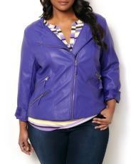 Plus Size Faux Leather Collarless Moto Jacket | Penningtons