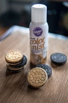 Use edible spray paint to make Oreos look like gold coins (I did these for St. Cake Table Birthday, 18th Birthday Party, Birthday Ideas, Edible Spray Paint, Golden Birthday, Gold Party, Party Centerpieces, Dessert Table, Sweet 16