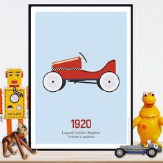 Affiche vintage - voiture à pédales - a télécharger