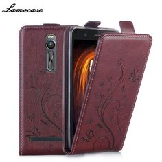 Luxury Leather Case for Asus Zenfone 2 ZE551ML Case 5.5 inches Flip Cover Butterfly Embossing Wallet Card Slot Phone Bag