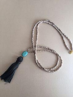 Tan Seed Bead Tassel Necklace