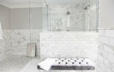 BATHROOM SHOWER IDEAS - For any of you who are renovating bathroom or are too bored with old bathroom design, finding some inspiring bathroom shower i. White Subway Tile Bathroom, Marble Bathroom, Old Bathrooms, Marble Bathroom Floor, White Marble Bathrooms, Bathroom Renovations, Bathroom Flooring, Bathroom Shower, Bathroom Design