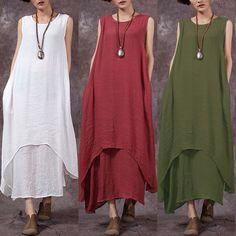 4ce5cf08269 Buy Plus Size Fashions Vintage Women Summer Sleeveless Layers Linen Kaftan  Maxi Dress Long Tops at Wish - Shopping Made Fun