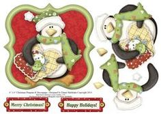 6  x 6  Christmas Penguin with Decoupage Card Topper on Craftsuprint - View Now!