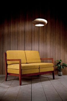 Kora Yellow Sofa Kann, designed by José Pascal, is a two seats sofa characterized by the symmetry of design, a double base of equal squares and an optical effect that mirrors one place with another. Canapé Design, Sofa Design, Outdoor Sofa, Outdoor Furniture, Outdoor Decor, Scandinavian Sofas, Yellow Sofa, Recording Studio Design, Mid Century Sofa