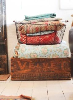 i like this for an idea to hold blankets for the living room