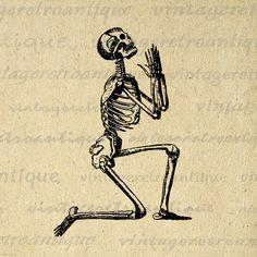 Digital Praying Skeleton Image Graphic Printable Illustration Download Antique Clip Art Jpg Png Eps 18x18 HQ 300dpi No.3618 @ vintageretroantique.etsy.com