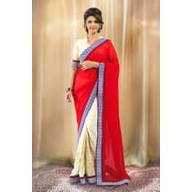 Red And Cream Georgette Saree With Cream Blouse - Georgette Sarees By Admyrin