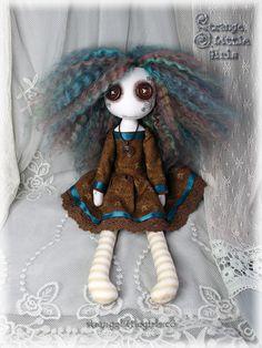 Button eyed cloth art doll - Autumn Driftwood by Strange Little Girls #buttoneyeddolls #clothartdolls #autumncolours