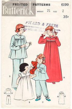 Vintage Pattern Butterick 6199 Girls' Nightgown and Two-Pi… | Flickr