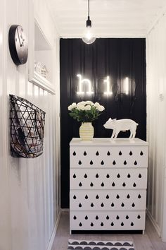 Add a graphic design to any piece of furniture using washi tape. Benedicte's bright home in Norway, via Desire to Inspire