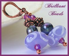 Violet Lampwork Peacock Pearl & Copper Lampwork by Gillianbeads, $16.00