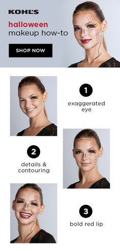 If your favorite part of Halloween costumes is the makeup, then we have the perfect idea for you: Pop art! Start by drawing on exaggerated brows and eyes with a liquid eyeliner pencil. Draw on other details and trace with white highlighter for a contoured look. Paint a red lip and finish by tracing. You'll be winning all the contests! Find makeup must-haves at Kohl's. #popart #halloweenmakeup Fairy Makeup, Mermaid Makeup, Fresh Makeup, Simple Makeup, Halloween Makeup, Halloween Costumes, Diy Costumes, Halloween Ideas, Costume Ideas