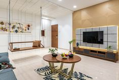 tv unit design livingroom unit Marble Swaram - A Contemporary House Flat Interior, Apartment Interior, Apartment Design, Room Interior, Home Interior Design, Studio Apartment, Tv 3d, Living Tv, Living Spaces