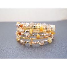 Cuff Bracelet Wrapped Bracelet Multi-strand Bracelet Stacked Bracelet... ($26) ❤ liked on Polyvore featuring jewelry, bracelets, wire bangles, cuff bracelet, cuff bangle, beading jewelry and cuff bangle bracelet