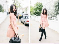 Sweet light pink Spring dress with lace details and black accessories