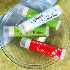 This is such a cool idea! Personalized Lip Balm Wedding Favors by Beau-coup