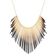Gold Ombre Bar Statement Necklace - Black