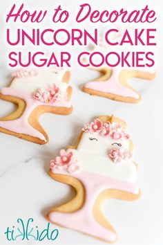 This decorated sugar cookie tutorial will teach you to make a cookie that looks like a trendy unicorn cake! Favorite Sugar Cookie Recipe, Best Chocolate Chip Cookies Recipe, Best Cookie Recipes, Brownie Cookies, Yummy Cookies, Cake Recipes, Dessert Recipes, Yummy Recipes, Desserts Menu
