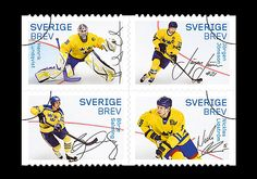 Hockey Heroes - issued by Sweden. #sports #entertainment #hockey #stamps Find out more about this stamp edition by clicking on the mentioned link - http://www.wopa-stamps.com/index.php?controller=country&action=stampProduct&id=9456