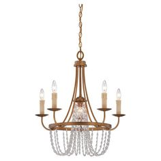 Vintaged brass chandelier with draped crystal accents. Designed by Brian Thomas.   Product: ChandelierConstruction Materia...