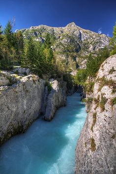 A week around Slovenia - Soča River canyon (Korita Soče). Beautiful Places In The World, Places Around The World, Slovenia Travel, Bohinj, Amsterdam Things To Do In, Travel Pictures, Austria, Kayaking, Places To See