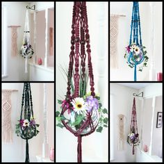 You can choose one of many colors for your custom made macrame plant hanger. Please visit Mainly Macrame on Etsy.  Bohemian Macrame Plant Hangers, Large Macrame Hanging Planters, Large Plant Holders, Modern Macrame Plant Hanger, Long Pot Hanger, Colorful
