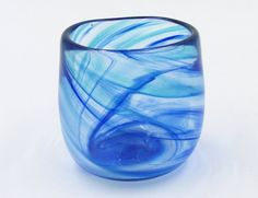 Blue Glass Tumbler, Teal and Cobalt Drinking Glass, Small Tumbler, Striped Water Glass, Art Glass Cup, Colorful Cup, Cobalt Cup