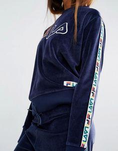 Image 3 - Fila - Sweat en velours avec bande sur les manches et logo appliqué