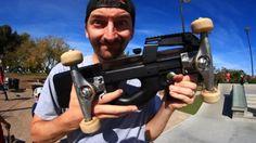 SKATING A GUN! | SKATE EVERYTHING EP 46: Big thanks to Isaiah Clifton for sending us this replica… #Skatevideos #everything #skate #skating