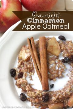 Overnight Cinnamon Apple Oatmeal: https://riversrecipereview.blogspot.com.  This is so nice being able to throw this into your crockpot the night before and wake up to a delicious hot breakfast in the morning!!