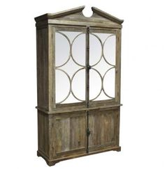 Handcrafted from reclaimed barn and flooring boards, this elm wood cabinet armoire combines the rustic with the elegant. Made with reclaimed elm wood. Style # at Lamps Plus. Furniture, Mirrored Furniture, Home Furniture, Cabinet, Rustic China Cabinet, Rustic Cabinets, Classic Home Furniture, Glass Cabinet, Classic House