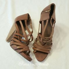 """Forever 21 Platform Strap Heels size 9 Forever 21 Platform Strap Heels size 9 in great used condition. These have some minor wear to the bottom. The heel measures 5"""".  Please let me know if you have questions. Happy Poshing! Forever 21 Shoes Platforms"""