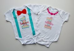 Twins First Birthday Outfit Sets Suspenders by mamabijou on Etsy, $60.00