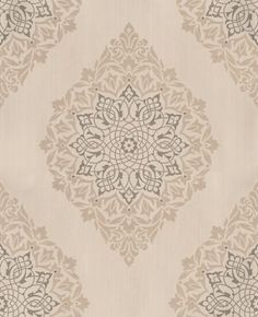 Tattoo (30-417) - Kelly Hoppen Wallpapers - A strong damask diamond shape motif with a raised texture. Shown in the orchid cream and gold. Paste the wall.Vinyl.