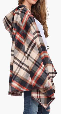 Hooded Plaid Poncho in Multi