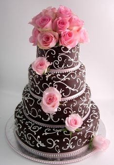 Gorgeous pink cake with roses, swirls & pearls