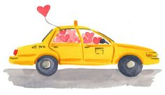 #NYC Taxi cab and heart baloons by Caitlin McGauley Prints