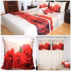 Stylowe dekoracje do sypialni koloru kremowego w czerwone róże