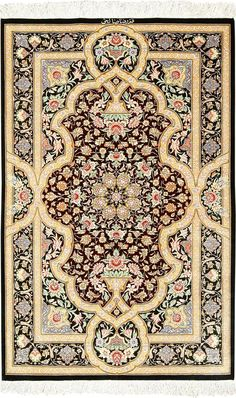 View this intricate brown background fine modern silk Persian Qum rug #49408 available for sale at Nazmiyal Antique Rugs in NYC.