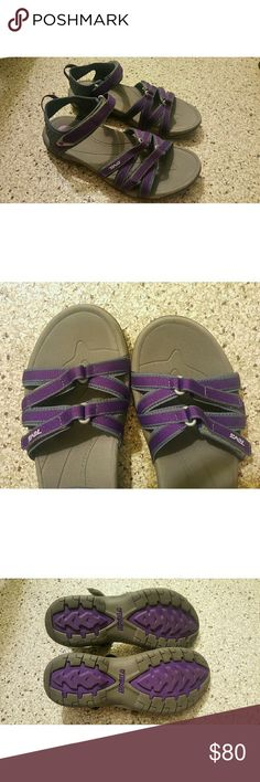 Teva Sandals NEW In perfect NEW condition! Straps at bridge of foot and heel are adjustable with velcro. Gray with vibrant purple accents. Perfect for outdoor sports or adventures. The molded shank absorbs shock well and makes from a comfortable hiking sandal for day trips (vs heavy, bulky and hot boots). Love to use these to travel with as they cover a range of occasions! Purchased for $80+tax. I bought 2 identical pairs and don't anticipate needing 2nd pair anymore--they're that well made…