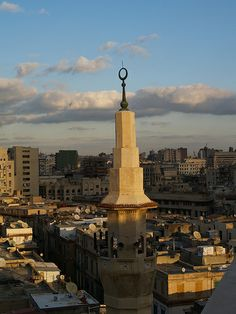 A mosque minaret in late afternoon winter sunshine in Alexandria , Egypt [shared]