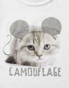 CAT SERIES T-SHIRT WITH DIAMANTE - T-shirts - Girl (2-14 years) - Kids - ZARA United States: